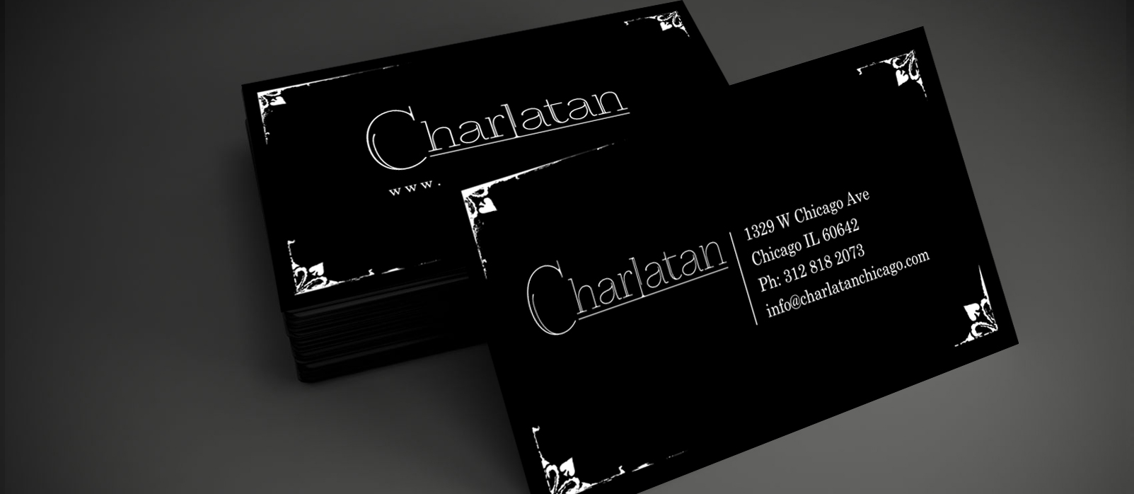Charlatan Chicago, Business Card Design, Business Cards, Logo Design, Print Production