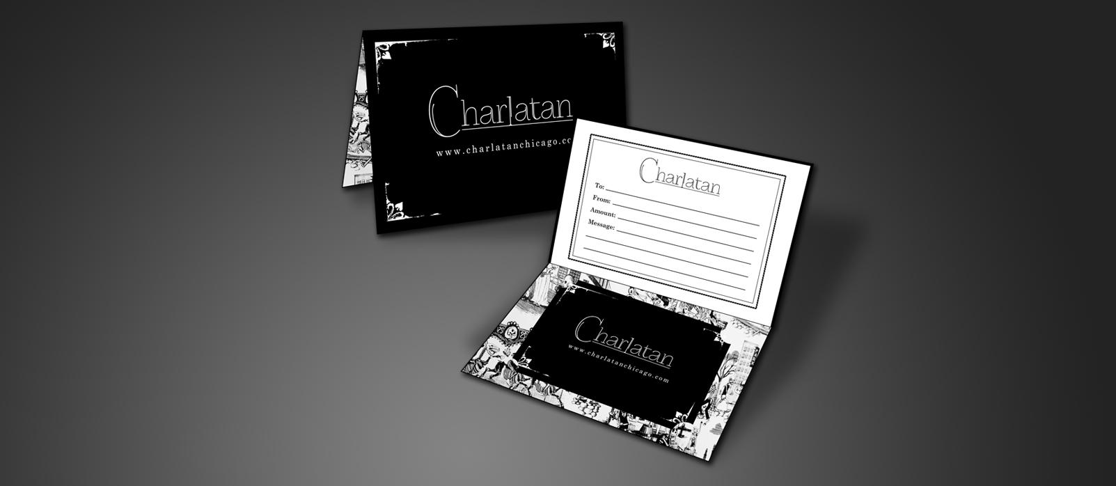 Charlatan Chicago, Gift Card Design, Gift Card Holder, Logo Design, Print Production