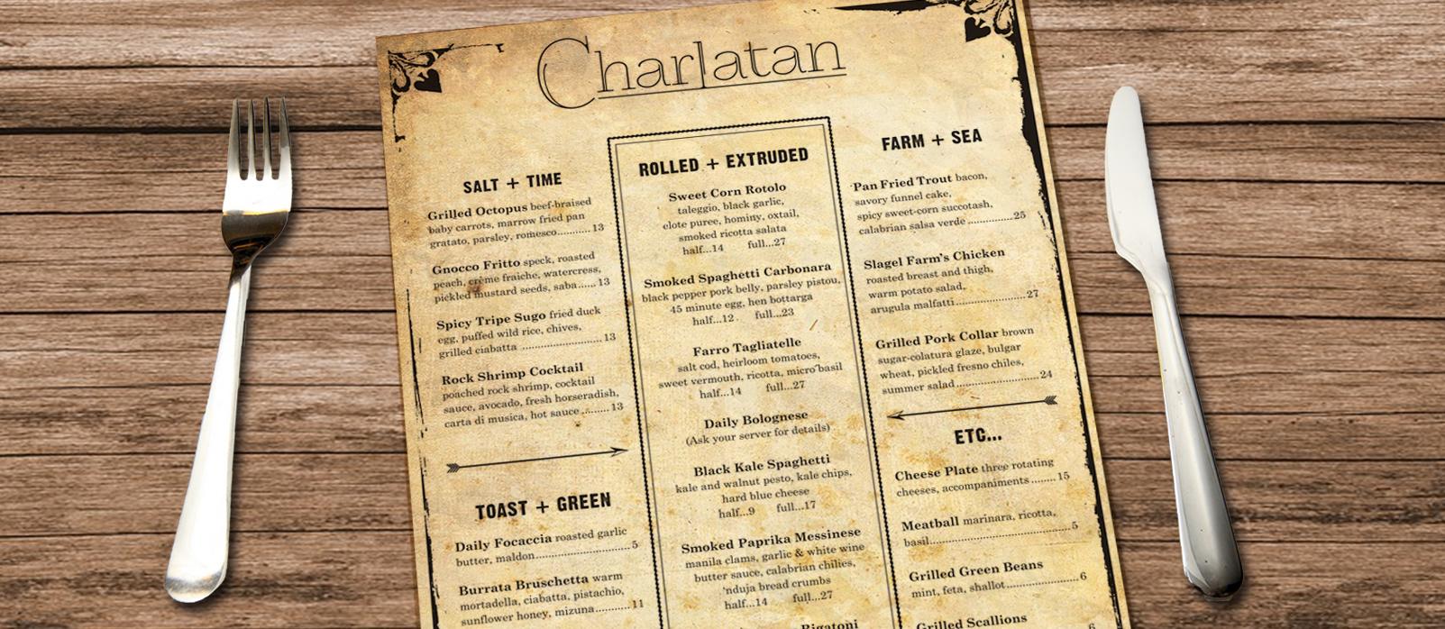Charlatan Chicago, Menu Design, Logo Design, Print Production
